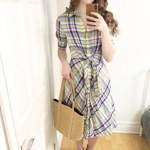 Cottagecore Ralph Lauren Tie Front Plaid Dress